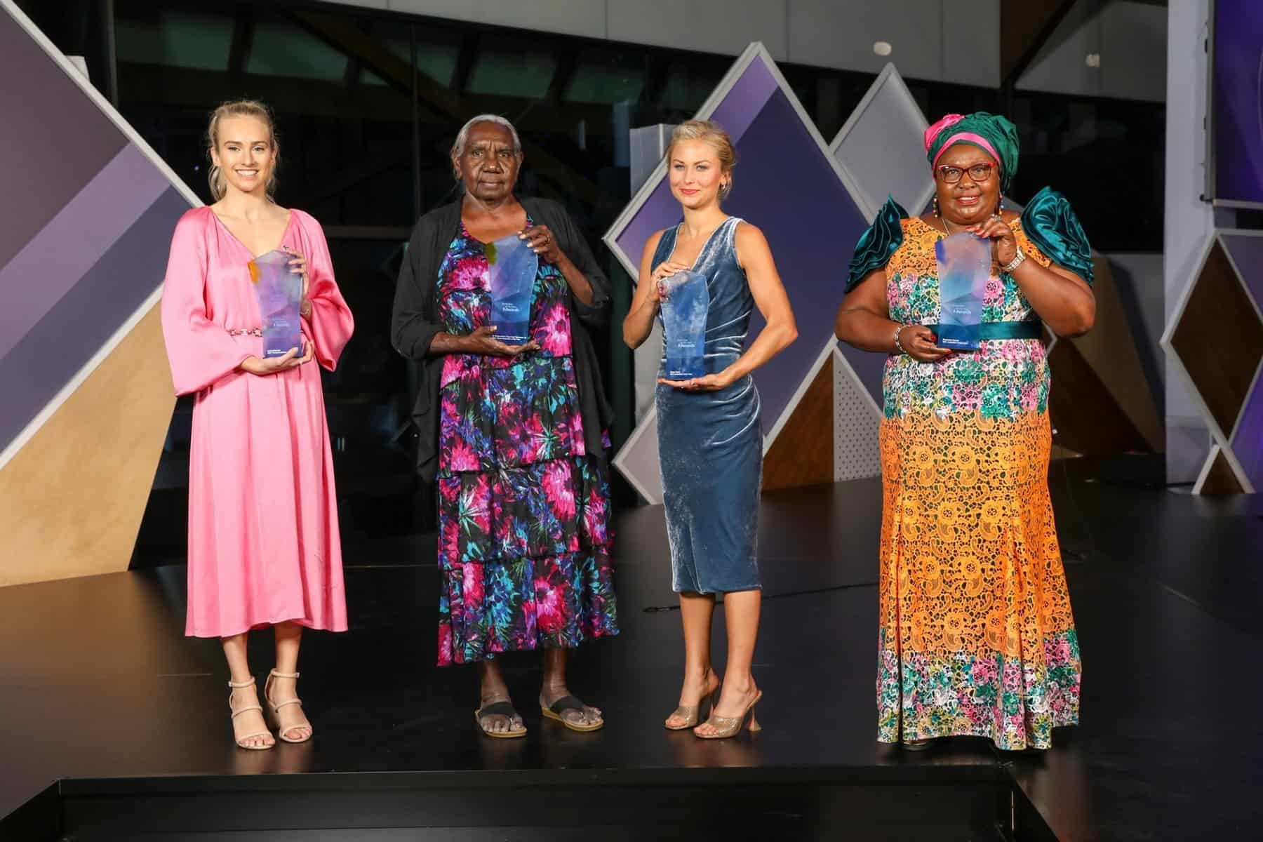 Young Australian of the Year Isobel Marshall, Senior Australian of the Year Dr Miriam-Rose Ungunmerr Baumann, Australian of the Year Grace Tame and Local Hero Rosemary Kariuki.CREDIT:ALEX ELLINGHAUSEN